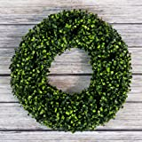 Boxwood Wreath, Artificial Wreath for The Front Door by Pure Garden, Home Décor, UV Resistant - 14 Inches, Rubber, 16.5x4.5