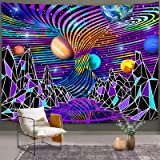 Bonsai Tree Space Tapestry, Trippy Mountain Wall Hanging Hippie, Psychedelic Abstract Planet Galaxy Stars Landscape Wall Art