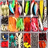 Forlovv 100-Pcs Fishing Lures Kit Set, Artificial Bait,Spinnerbaits, Plastic Worms Lures, More Fishing Gear Lures Kit Set,Fis