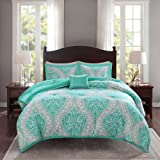 Comfort Spaces Bed Comforter Set Ultra Soft Printed Damask Pattern Hypoallergenic Bedding, CS10-0077, Fabric, Teal-Grey, Twin