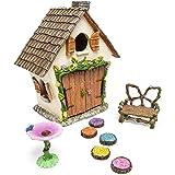 Meadow & Oak Fairy House Kit, Outdoor Fairy Garden Kit for Kids & Adults, Fairy Garden House with Doors That Open & Fairy Gar