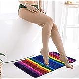 Udolfly Rainbow Bath Mat Square Bathroom Floor Mat Non Slip Shower Mat Bathroom Door Mat