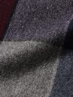 Block Check Cashmere Scarf 11-45-0424-544: Wine / Grey / Navy