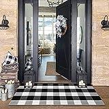 Buffalo Plaid Check Outdoor Rug 2' x 4.3' Farmhouse Rug Hallway Runner Checkered Washable Runner for Kitchen/Laundry/Bathroom