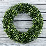 Boxwood Wreath, Artificial Wreath for The Front Door by Pure Garden, Home Décor, UV Resistant - 14 Inches Round - 19.5 Inches