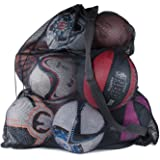 """Super Z Outlet Sports Ball Bag Drawstring Mesh - Extra Large Professional Equipment with Shoulder Strap Black (30"""" x 40"""" Inch"""