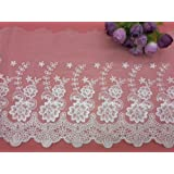 21CM Width Europe Rose Wedding Applique Inelastic Embroidery Lace Trim,Curtain Tablecloth Slipcover Bridal DIY Clothing/Acces