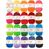 Mira Handcrafts 20 Acrylic Yarn Bonbons - 438 Yards Multicolor Yarn in Total - Great Crochet and Knitting Starter Kit for Col