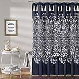 "Lush Decor Boho Medallion Shower Curtain-Fabric Bohemian Damask Print Design with Tassels, 72"" x 72"", Navy"