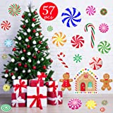 Funnlot 57 PCS Peppermint Floor Decals Christmas Candy Stickers Candy Floor Decals for Christmas Floor Decals Candy Party Wal