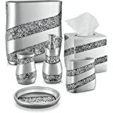 DWELLZA Silver Mosaic Bathroom Accessories Set, 6 Piece Bath Set Collection Features Soap Dispenser, Toothbrush Holder, Tumbl