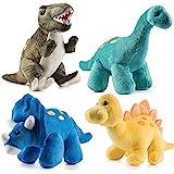 Prextex High Qulity Plush Dinosaurs 4 Pack 10'' Long Great  Kids Stuffed Animal Assortment Great Set for Kids