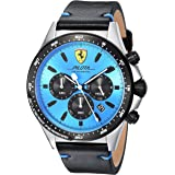 Scuderia Ferrari Men's 'PILOTA' Quartz Stainless Steel and Leather Casual Watch, Color:Black (Model: 0830388)