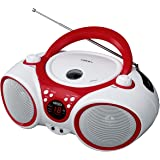 Jensen CD Boombox CD-490 White/Red Portable Stereo Boombox + CD-R/RW Player with AM/FM Radio and Aux Line-In (Limited Edition