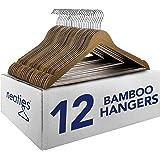 Neaties Natural and Safe Bamboo Wood Hangers Walnut Finish, 12pk