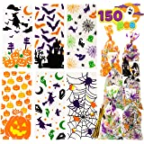 JOYIN 150 PCS Halloween Cellophane Clear Treat Bags Candy Bags with Twist Ties for Halloween Party Favors Supplies