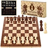 Wooden Chess Set for Kids and Adults - 15 Staunton Chess Set - Large Folding Chess Board Game Sets - Storage for Pieces | Woo