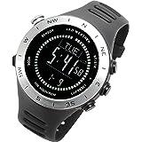 [ラドウェザー]ランニングウォッチ 心拍計 USB充電 速度計 歩数計 気圧計 高度計 コンパス アウトドア腕時計 スポーツ時計 (シルバー(反転液晶))
