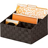"Honey-Can-Do OFC-03611 Woven Mail and File Desk Organizer, 12 x 10.25 x 7"", Espresso"