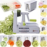 Brieftons 10-Blade Spiralizer: Strongest-and-Heaviest Vegetable Spiral Slicer, Best Veggie Pasta Spaghetti Maker for Low Carb