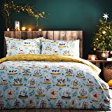 furn. Twelve Days of Christmas Duvet Cover Set, Blue, Double