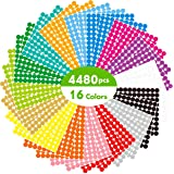 """4480 PCS 3/4"""" Round Polka Circle Dot Sticker Labels Mega Bundle in Assorted 16 Colors with Perforation Line"""