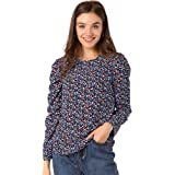 Allegra K Women's Puff Sleeve Blouse Retro Round Neck Puffy Tops