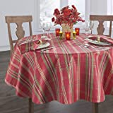 """Elrene Holiday Tablecloth, 23855RGR, Red, 60"""" x 84"""" Oval"""