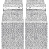 yuboo Silver Table Runner, 2 Pack Sequin 12''x108'' Table Cloth for Birthday Party, Wedding,Bridal Baby Shower, Christmas