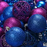 100 Purple And Blue Christmas Ornament Balls Shatterproof + 100 Metal Ornament Hooks Hanging Ornaments For Indoor/Outdoor Chr