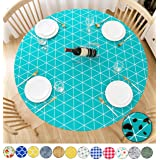 Rally Home Goods Indoor Outdoor Patio Round Fitted Vinyl Tablecloth, Flannel Backing, Elastic Edge, Waterproof Wipeable Plast