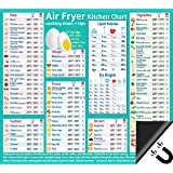 "Air Fryer Accessories Cooking Times cheat sheet Kitchen conversion Chart Fridge Magnet guide Big Text 9""x10"" Kitchen Gift Rec"