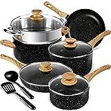 MICHELANGELO 12 Pcs Non-Stick Pots and Pans Set, Stone Cookware Set 12 Pcs, Kitchen Cookware Sets Black, Pots and Pans Nonsti