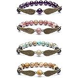 Bivei Guardian Angel's Wing Lava Rock Stone Essential Oil Diffuser Bracelet - Semi Precious Gemstone Beads Healing Crystal Br