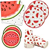 """Watermelon Party Supplies Tableware Set 24 9"""" Plates 24 7"""" Plate 24 9 Oz. Cups 50 Lunch Napkins Pink Green Melon Fruit Slice"""