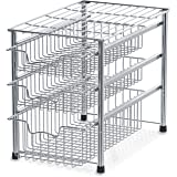Stackable 3 Tier Sliding Basket Organizer Drawer Chrome