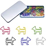 80 Pcs Adorable Dog Animal Shaped Paper Memo Clips Bookmark Assorted Colors in Gift Box for Students, Kids, Teachers …