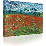 IPIC - Poppy Field Floral Vintage Vincent Van Gogh Art Reproduction. Giclee Canvas Prints Wall Art for Home Decor 24#F(30X24)