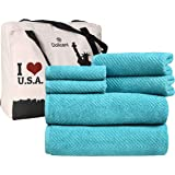 DOLLCENT- Jacquard Chevron Premium Quality 600 GSM- 100% Cotton Towel Set of 6 - 2 Bath Towels- 2 Hand Towels- 2 Washcloths-