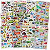HORIECHALY Transportation Stickers for Kids 12 Sheets with Cars, Airplane, Train , Motorbike, Ambulance, Police Car, Fire Tru