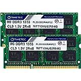 Timetec Hynix IC 16GB Kit(2x8GB) DDR3 1333MHz PC3-10600 Non ECC Unbuffered 1.5V CL9 2Rx8 Dual Rank 204 Pin SODIMM Laptop Note