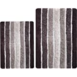 Bathroom Rugs Set 2 Piece in 100% Cotton Alpine Stripe 21x32/17x24 - Brown Beige, Reversible Bath Rugs Set, Cotton Bath Mat,C