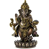 """Top Collection 7.5"""" Standing Ganesh (Ganesha) Hindu Elephant God of Success. Remover of Obstacles. Real Bronze Powder Cast St"""