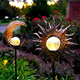 Upgraded 2020 Solar Lights Outdoor Celestial Sun & Moon Decor, Waterproof, Iron, Decorative (2 Pack), Beautiful for Front Yar