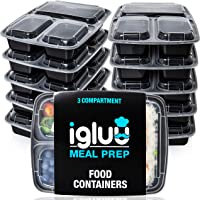 [10 Pack] 3 Compartment BPA Free Reusable Meal Prep Containers - Plastic Food Storage Trays with Airtight Lids -...