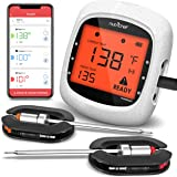 Smart Bluetooth BBQ Grill Thermometer - Upgraded Stainless Dual Probes Safe to Leave in Outdoor Barbecue Meat Smoker - Wirele