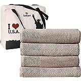 DOLLCENT- 600 GSM Jacquard Chevron 100% Combed Cotton Bath Towel Set- Hotel Spa Towel- Super Absorbent Ultra Soft Cotton Bath