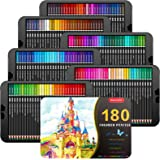Soucolor 180-Color Artist Colored Pencils Set for Adult Coloring Books, Soft Core, Professional Numbered Art Colorful Drawing