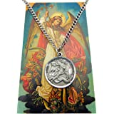 Westman Works St Michael Pewter Medal One Inch Saint Pendant on a Stainless Steel Chain Boxed Gift Set