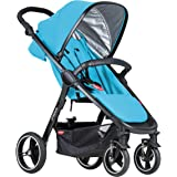 phil&teds Smart City Stroller, Cyan – Huge Seat - Easy and Compact Standing Foot Fold – Newborn Ready – Huge Canopy – Punctur